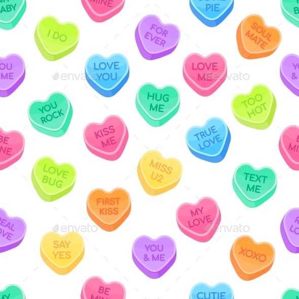 Sweethearts Candy Set Flat Style Design Vector
