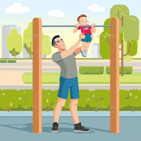 Boy with Father Exercising Outdoors