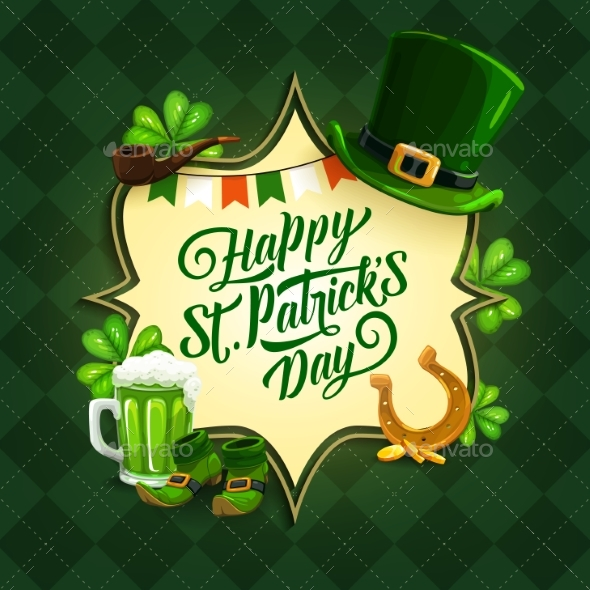 Patrick Day Irish Holiday Card with Clovers