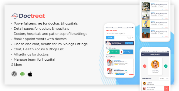 Doctreat - React Native Mobile APP for Android and IOS Download
