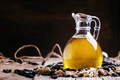 Freshly squeezed sunflower oil in a glass jug - PhotoDune Item for Sale