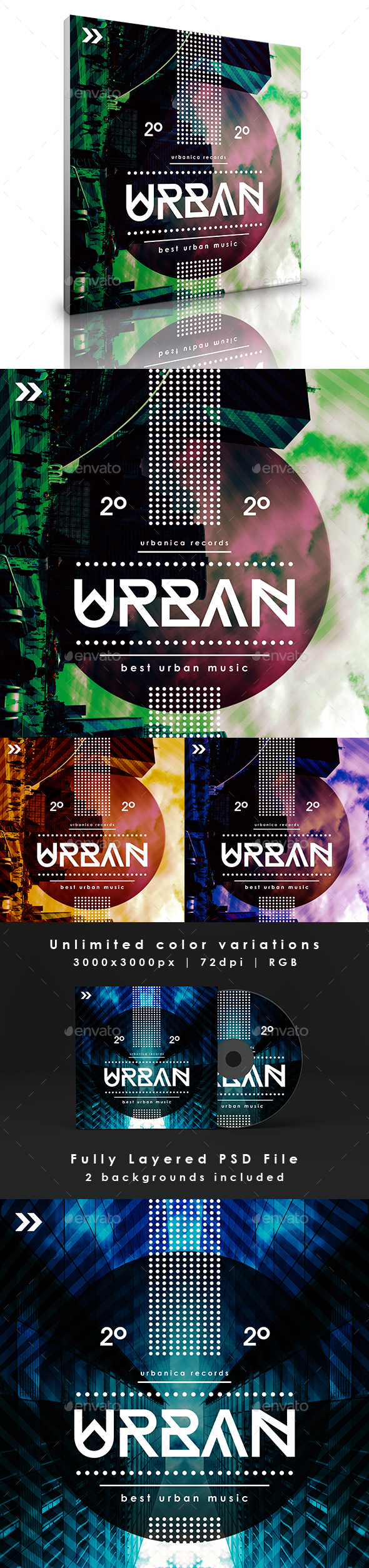 Urban -  Abstract Music Album Cover Artwork Template