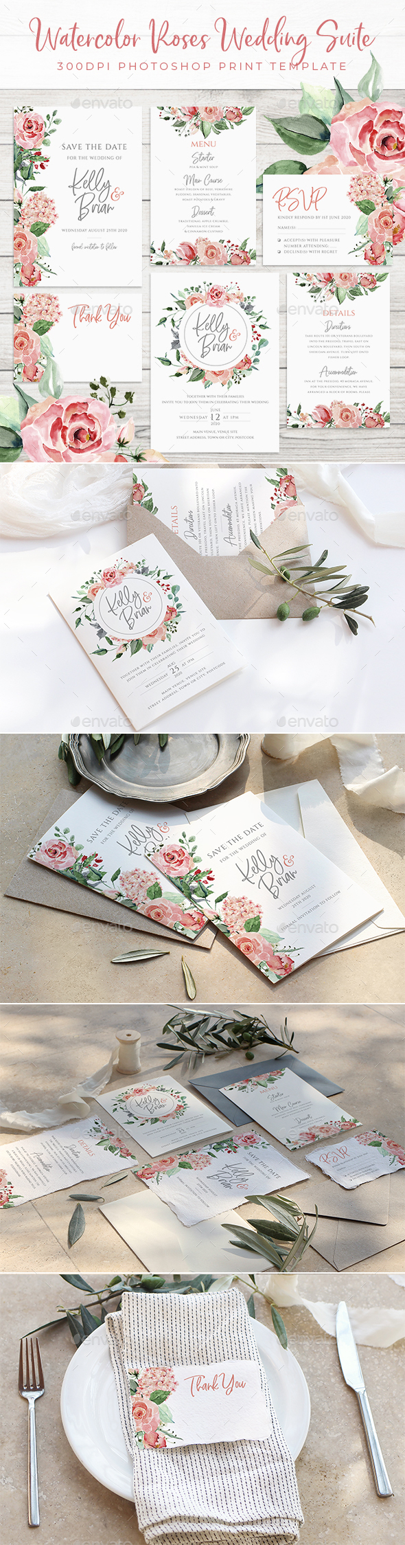 Watercolor Roses Wedding Suite