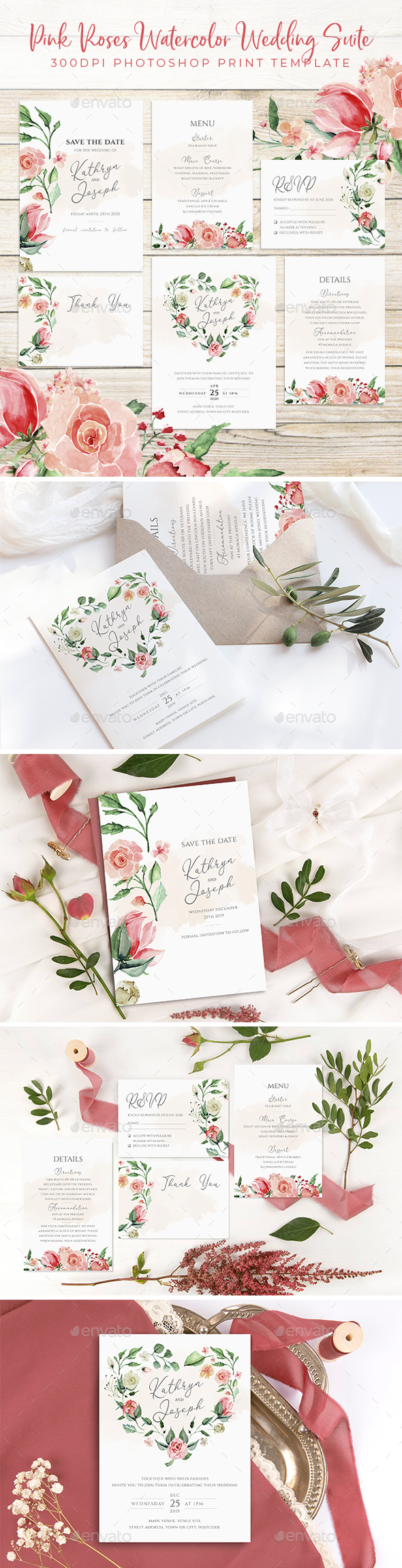 Pink Roses Watercolor Wedding Set