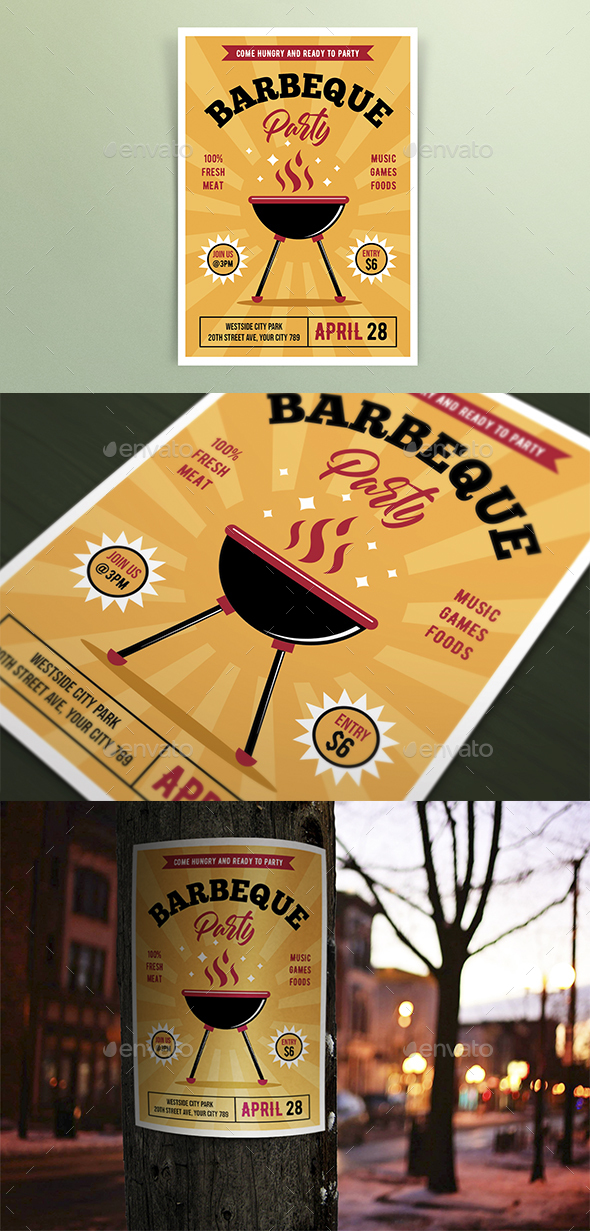 Retro Barbeque Party Flyers