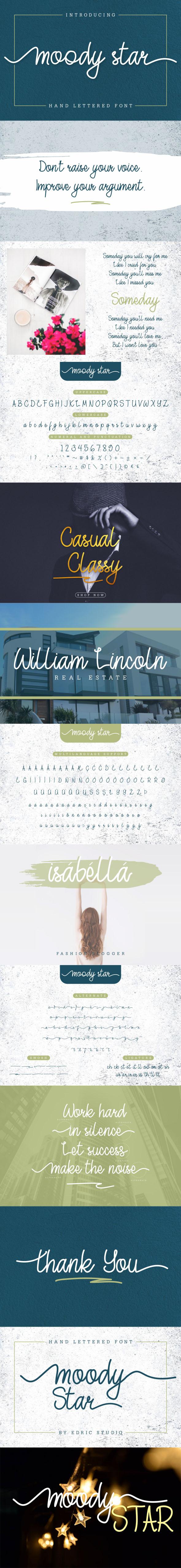 Moody Star Script Font