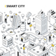 Smart City Isometric Outline Illustration - GraphicRiver Item for Sale