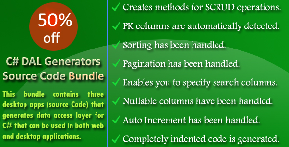 C# DAL Generators Source Code Bundle - Save 50%