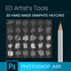 30 HB Graphite Pencil Brushes - Hatching - GraphicRiver Item for Sale