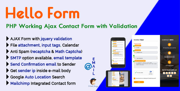 Hello Form - PHP Working Ajax Contact Form with Validation