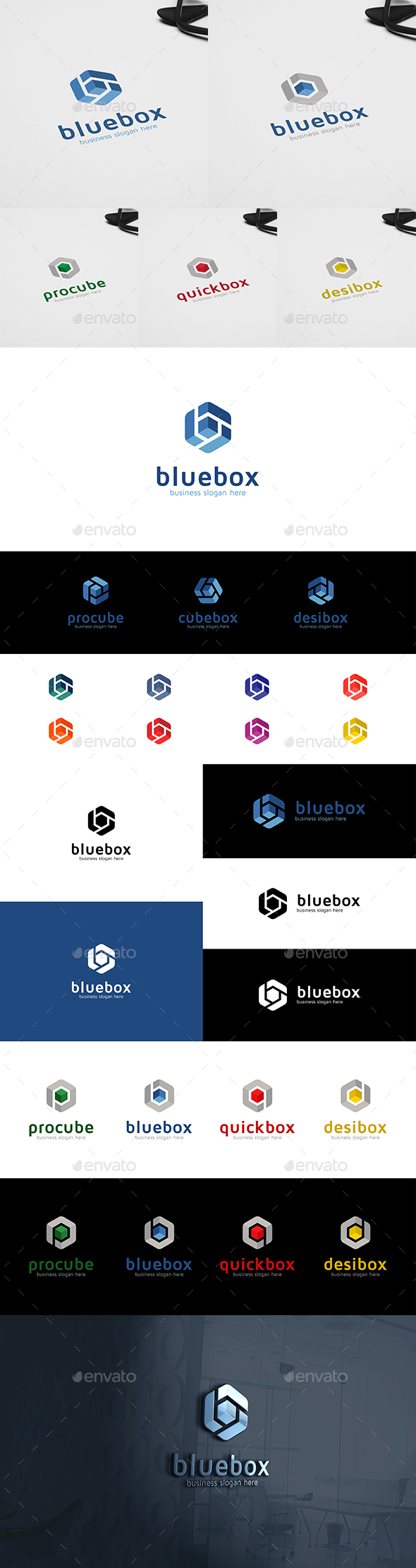 Blue Box Cube and Letter B in Hexagon Form Multipurpose Logo
