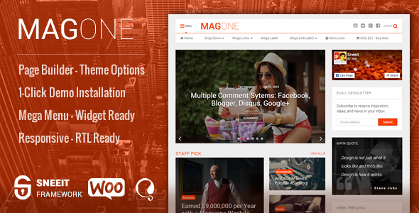 MagOne -­ Responsive Magazine & News WordPress Theme