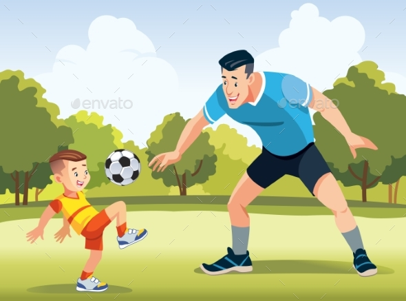 Young Father with His Little Son Playing Football