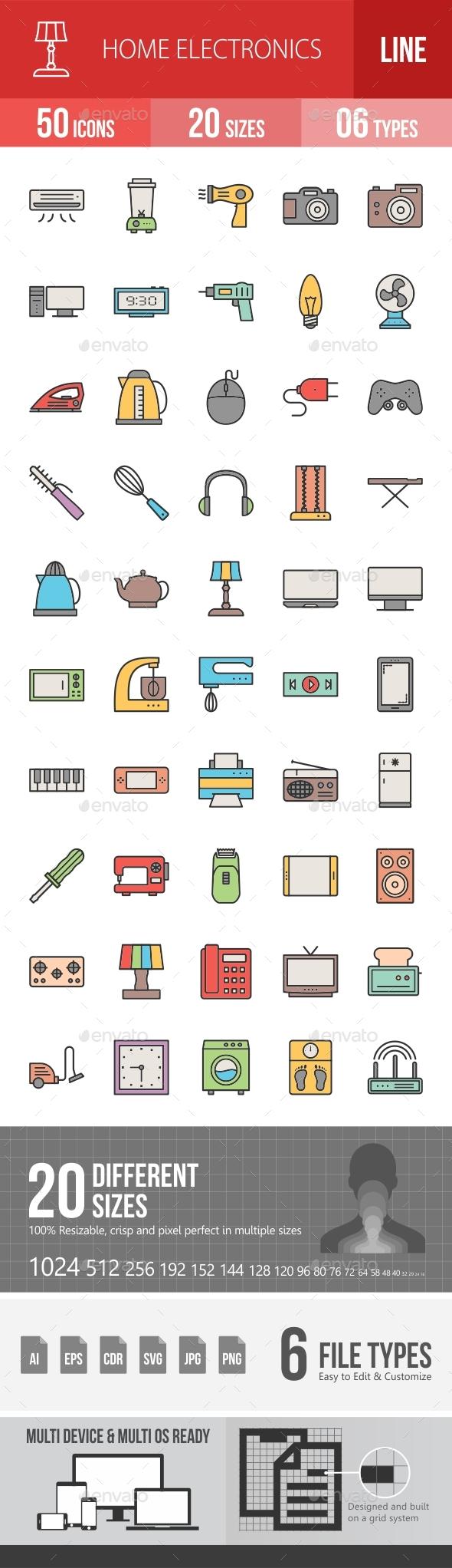 Home Electronics Filled Line Icons Season II