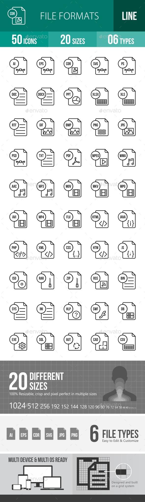 File Formats Line Icons Season II