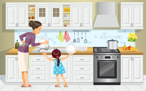 Mother and Daughter Washing the Dishes