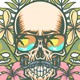 Skull and Tropical Flowers - GraphicRiver Item for Sale