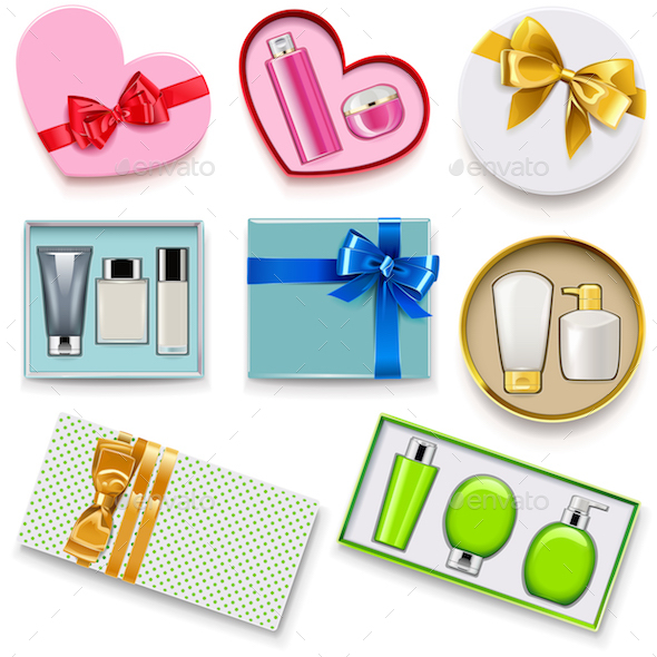 Vector Gift Boxes with Cosmetics Set 2