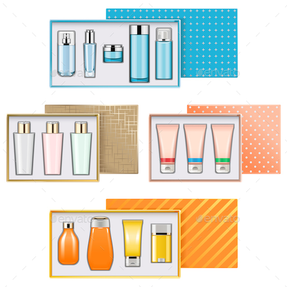 Vector Gift Boxes with Cosmetics Set 3