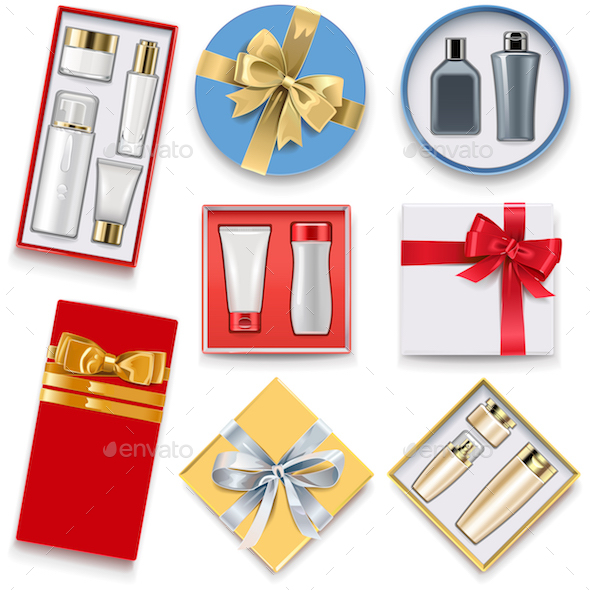 Vector Gift Boxes with Cosmetics