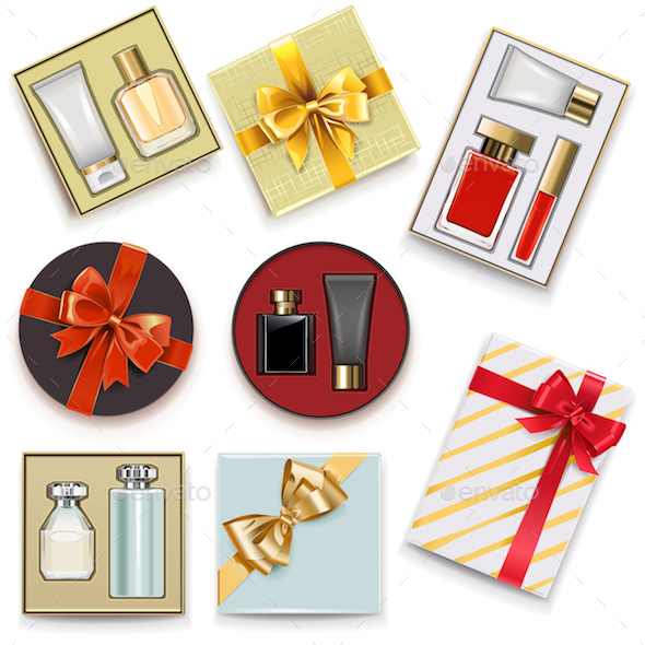 Vector Gift Boxes with Perfumery