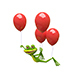 3D Illustration Frog Flies on Red Balloons - GraphicRiver Item for Sale