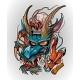 Japanese Dragon Demon with Human Skull Tattoo - GraphicRiver Item for Sale