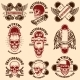 Set of Skateboarding Club Emblems with Skulls - GraphicRiver Item for Sale