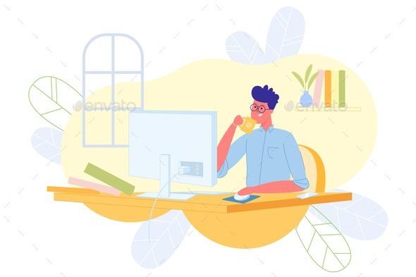 Freelance Programmer Works at Computer, Cartoon.