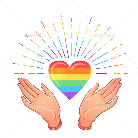 Rainbow Colored Icon Gay Pride LGBT Concept