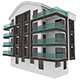 Simple Building Model with Double Terrace - 3DOcean Item for Sale