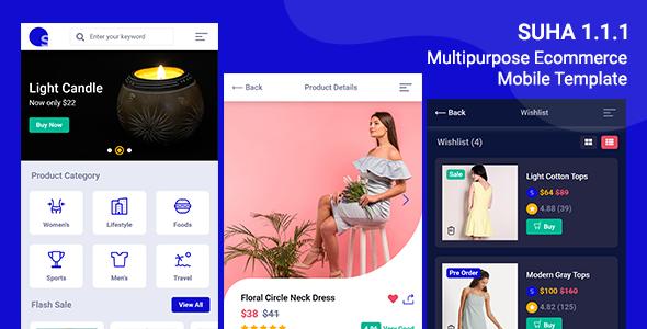 Suha - Multipurpose Ecommerce Mobile HTML Template