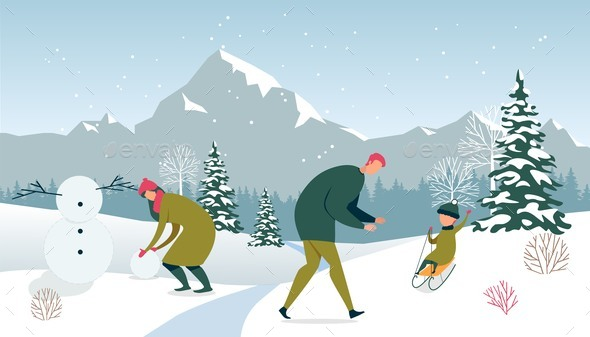 Winter Holiday. Family Happy Pastime Outdoors