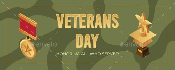 Veterans Day Banner Design Template. Honoring All