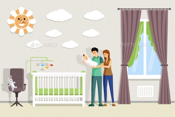 Parents Holding Baby and Standing in Baby Room