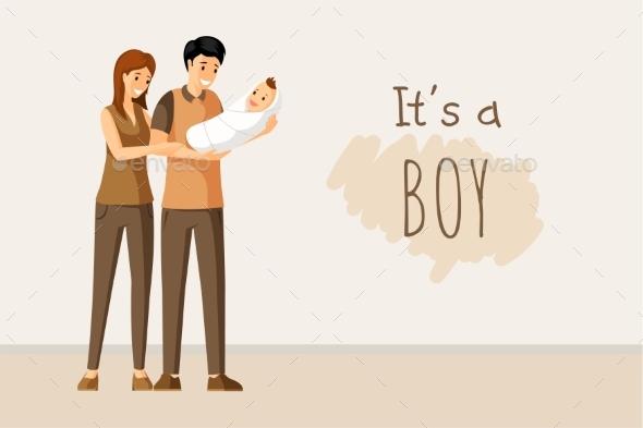It a Boy Vector Concept. Baby Shower Invitation