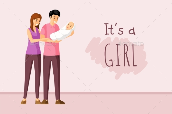 It a Girl Vector Concept. Baby Shower Invitation