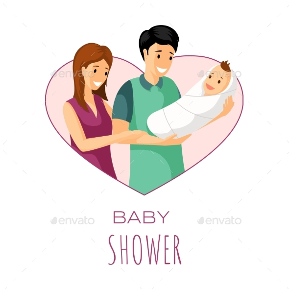 Baby Shower Invitation Card Design. Mother, Father