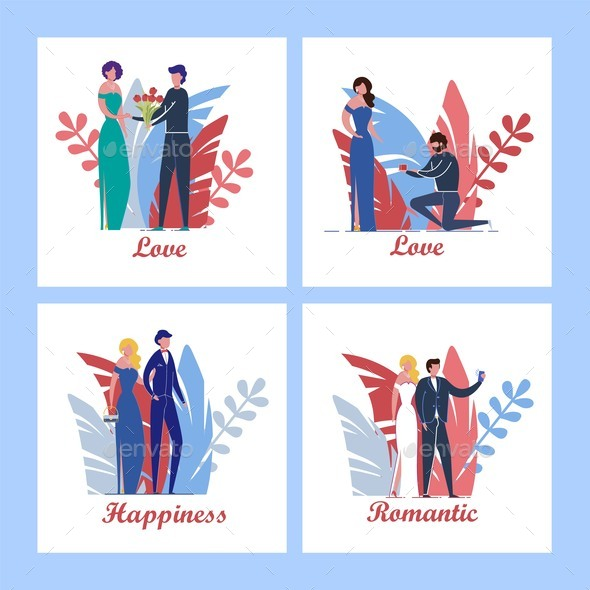 Wedding or Valentines Day Cards with Love Couple.