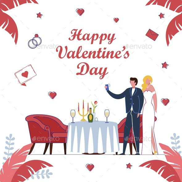Valentines Day and All Lovers Holiday Card Design.