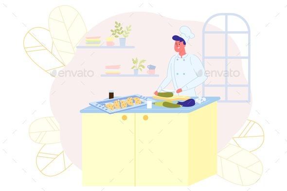 Happy Cook Prepares Delicious Food, Illustration.