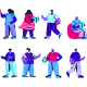 Collection Flat Blue People Character - GraphicRiver Item for Sale