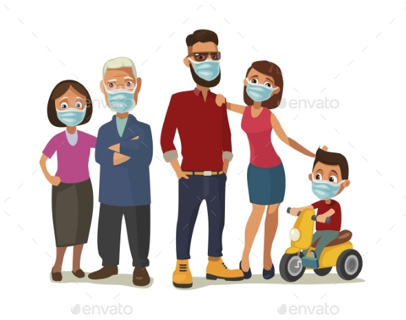 Family in Blue Medical Masks. Color Flat Vector