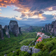 Sunset sky and monasteries of Meteora