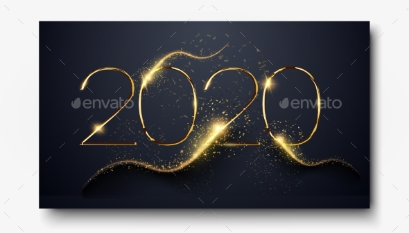 Happy New Year 2020. Number 2020 Written Sparkling