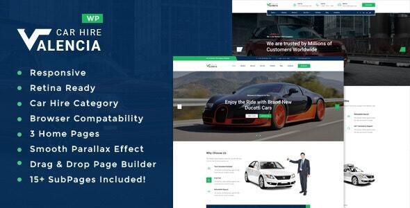 Valencia - Car Hire WordPress Theme