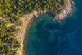 Aerial drone view of beach umbrellas and sunbeds on Thassos island, Greece - PhotoDune Item for Sale