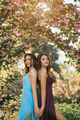 Fashion Portrait Photo of Two Women Near Blossoming Tree on Nature - PhotoDune Item for Sale