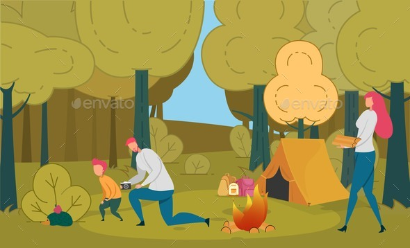 Tourists Family Camping Leisure, Relaxing in Camp.