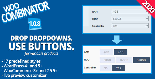WooCombinator for variable products - Turn your boring selects into buttons! Download